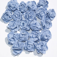 Periwinkle Blue Fabric Roses Flowers Appliques Set of 20 Embellishments Handmade Fabric Flowers for Head Bands Scrapbooking (M)