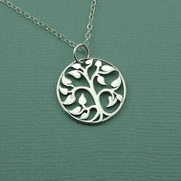 Small Tree Of Life Necklace - 925 sterling silver -tree pendant charm jewelry - zen gift
