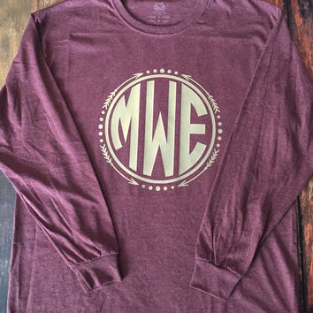 LONG SLEEVE Arrow Circle Monogram T-Shirt Womens Vinyl
