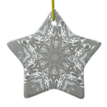 Antique Silver Gray Decorative Kaleidoscopic Star Ceramic Ornament