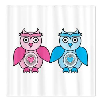 Kawaii Valentines Girl and Boy Owls Shower Curtain> Valentines Gifts> Hippy Gift Shop Funky Hippie Gifts