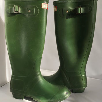 Vintage Huntress Wellies Rubber Rain Boots Tall British Hunter Wellingtons  Green  US Womens Size 6