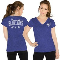 Touch by Alyssa Milano Toronto Blue Jays Ladies Outfield Slim Fit T-Shirt - Royal Blue