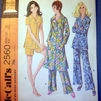 Vintage 70's Robe and Pajama Set Misses' Size 10 McCall's 2560 Sewing Pattern Uncut