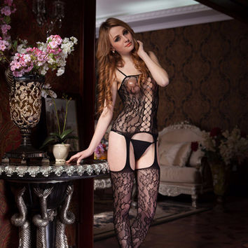 Black Floral Sheer Strappy Bodystockings