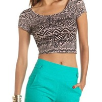 Twist-Back Printed Crop Top: Charlotte Russe
