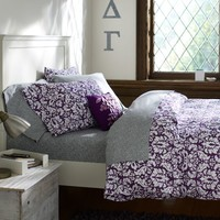 Damask Duvet Cover + Pillowcases, Plum