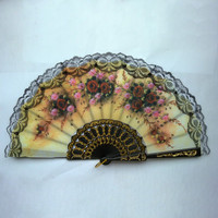 Lace Edge Dancing Props Multi-Colors Spanish Style Hand Held Fabric Fans LH8