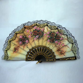 Lace Edge Dancing Props Multi-Colors Spanish Style Hand Held Fabric Fans