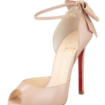 Christian Louboutin Dos Noeud Peep-Toe Ankle Wrap Red Sole Pump, Nude