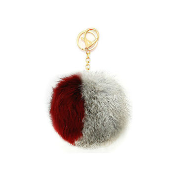 Grey, Burgundy & Gold Two Tone Rabbit Fur Pom Pom Key Chain / Bag Charm Keychain, gift