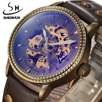 SHENHUA Brand Antique Mechanical Watches Men Leather Strap Vintage Skeleton Automatic Men's Wrist Watch Clock Relogio Masculino