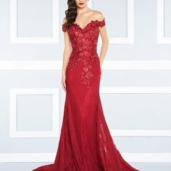 Mac Duggal - 66214R Off the Shoulder Rich Lace Gown