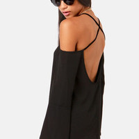 Shoulder of Fortune Off-the-Shoulder Black Top