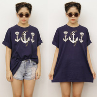 Vintage Nautical Navy Gold SAILOR Anchor Military Oversize T-shirt Top 12  Retro