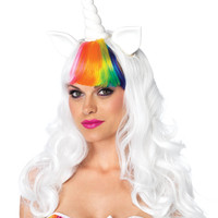 2PC. Unicorn kit,unicorn wig with adjustable elastic strap,rainbow tail