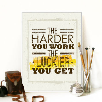 Modern Motivational Typography Work Lucky Quotes A4 Big Art Print Poster Wall Picture Canvas Painting No Frame Office Home Decor