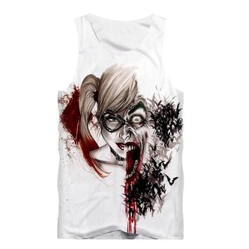 Sexy Summer Men Tank Top Sleeveless Shirt Boy Fitness Fashion T-Shirt Anime Suicide Squad Joker Harley Quinn 3D Print White Vest