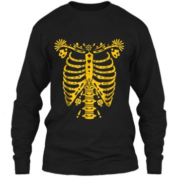 SKELETON    Halloween Costume Mexican Day Of The Dead LS Ultra Cotton Tshirt
