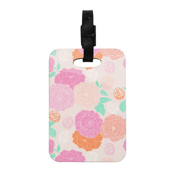 "Anneline Sophia ""Peonies Pink"" Peach Teal Decorative Luggage Tag"