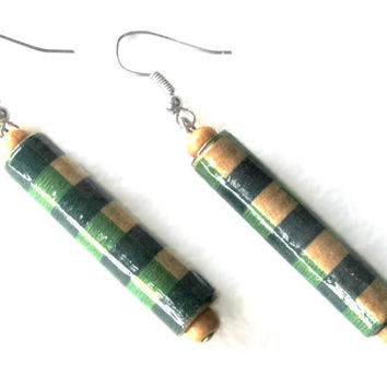 Paper bead earrings-Handmade earrings-Eco friendly jewelry-Natural jewelry-Wooden beads-Handmade beads-Recycled jewelry-Recycled beads