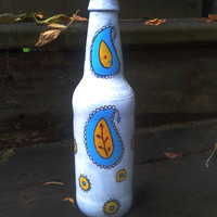 Decorative Bottle,Flower Vase,Handpainted Upcycled Beer Bottle,White Bottle,Paisley Design,Bohemian Bottle,Christmas Gift,Housewarming