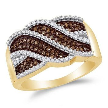 Sonia Jewels Size 8.5-10K Yellow Gold Chocolate Brown & White Round Diamond Fashion Ring - Channel Setting (1/3 cttw.)