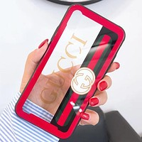 GUCCI tide brand creative hollow mirror glass iphone8p/7p protection Red