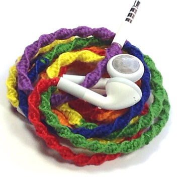 Rainbow - Tangle Free Earbuds - Wrapped Headphones - Your Choice of Headphones