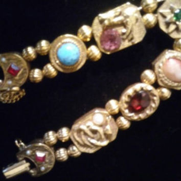 50's Slider Charm Bracelet - Cameo Rhinestone Jewelry - Red Green Blue  Pink Stones - Unsigned Goldette 1960's Jewelry - Vintage