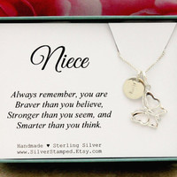 Gift for Niece necklace sterling silver initial butterfly necklace unique personalized Christmas birthday gift from aunt or uncle