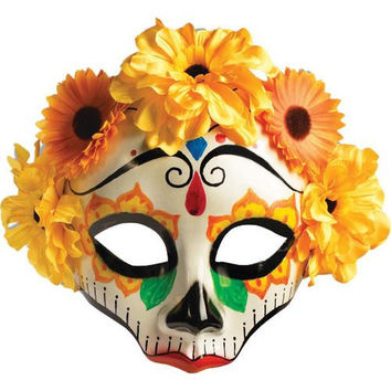 Costume Mask: Day of Dead Female Mask with Flowers