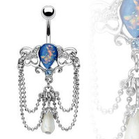 Chandelier Navel Ring with Synthetic Blue Opal