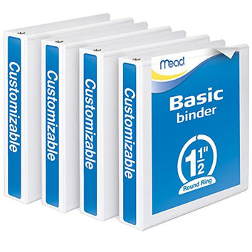 Mead 3 Ring Binder, Customizable, 1.5 Inch Round Ring, 4 Pack, White (W463-34WPP)