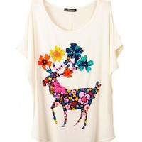 Round Neckline Batwing Sleeves T-shirt with Colorful Sika Deer Print