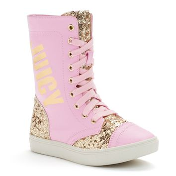Juicy Couture Girls' High-Top Glitter Sneakers (Pink)