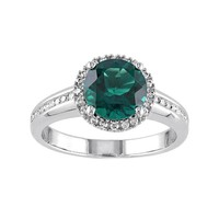 Lab-Created Emerald & 1/4 Carat T.W. Diamond 10k White Gold Halo Ring (Green)