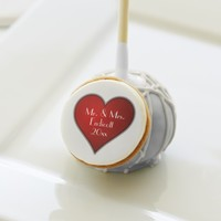 Romantic Red Heart with Name and Wedding Date Cake Pops
