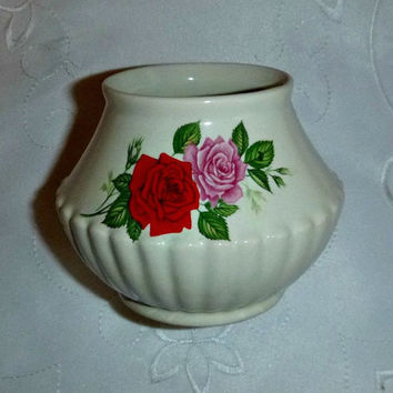 Vintage Shabby Chic Vase Vanity Home Decor, Mid Century Japan Porcelain Vase, Ceramic Pottery Collectible Small Planter Red Pink Roses Jar