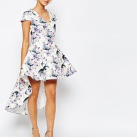 True Decadence Mini Prom Dress in Allover Floral With High Low Hem at asos.com