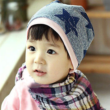 Cute Baby Infant Toddler Kids Boy Girl Cotton Soft Beanie Stars Print Hat Cap HU
