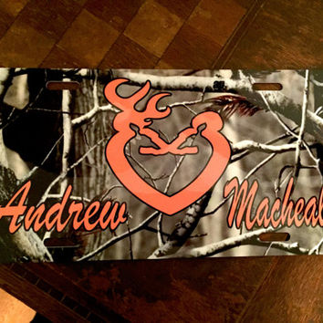Camo Buck and Doe Heart License Plate
