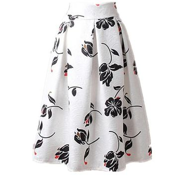 Summer Floral Print Vintage A Line Skater Midi Skirt Fashion High Waist Ball Gown Women Skirt Elegant