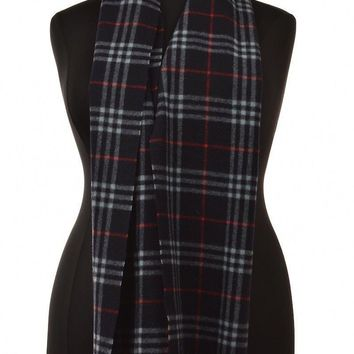 Burberry Womens Scarf Size One Size Navy Baby Blue Red Plaid Fringe Lambswool