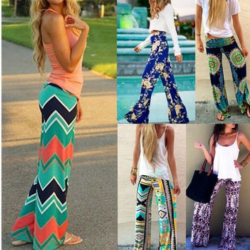 Women's Fashion Bohemian Floral print Loose  Elastic High Waist Pants = 1928517316