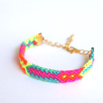 Friendship Bracelet in Bright Neons by makunaima on Etsy