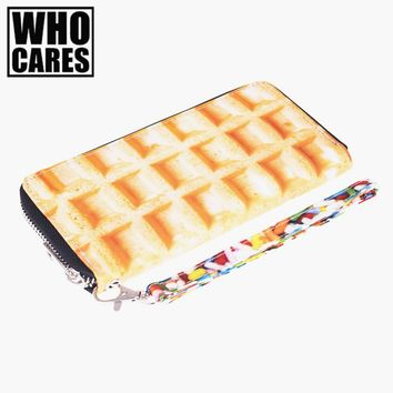 Waffle 3D Printing wallet men 2016 Who Cares Fashion New woman wallet cluth carteira feminino wallets purse portefeuille homme
