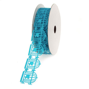Bird in Cage Garland Polyester Ribbon, 1-1/4-Inch, 25 Yards, Turquoise