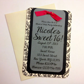 Black & White Party Sweet Sixteen Invitation