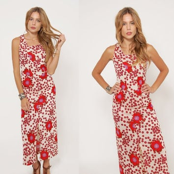 Vintage 70s POPPY Print Dress PSYCHEDELIC Flower Print Maxi Dress MOD Sleeveless Dress Hippie Dress